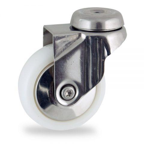 Edelstahl lenkrolle 75mm für lichtwagen,rader aus polyamid,gleitlager.Montage mit rückenloch