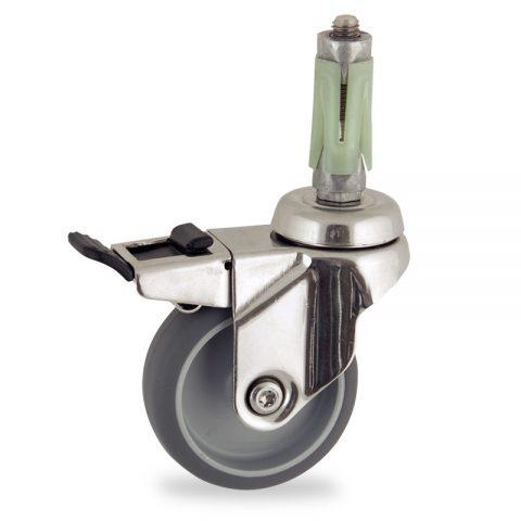 Edelstahl lenkrolle mit totalfeststeller 100mm für lichtwagen,rader aus grau thermoplasticher gummi,konuskugellager.Montage mit runde expander 26/30
