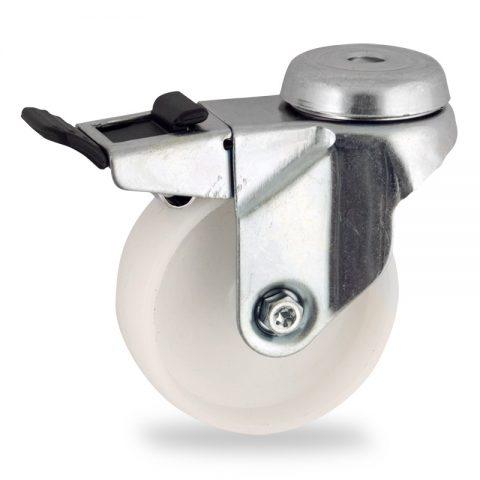 Stahlblech lenkrolle mit totalfeststeller 50mm für lichtwagen,rader aus polyamid,gleitlager.Montage mit rückenloch