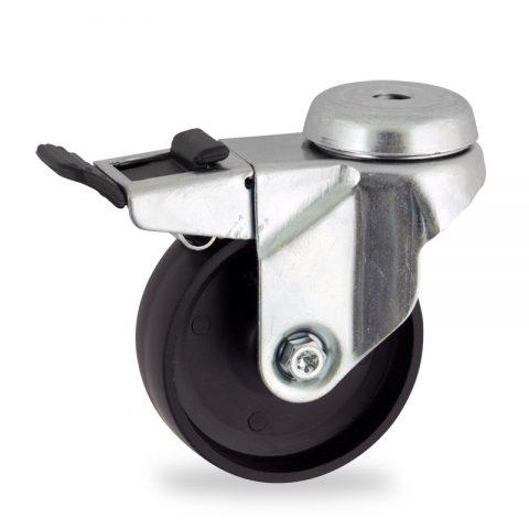 Stahlblech lenkrolle mit totalfeststeller 50mm für lichtwagen,rader aus polypropylen,gleitlager.Montage mit rückenloch