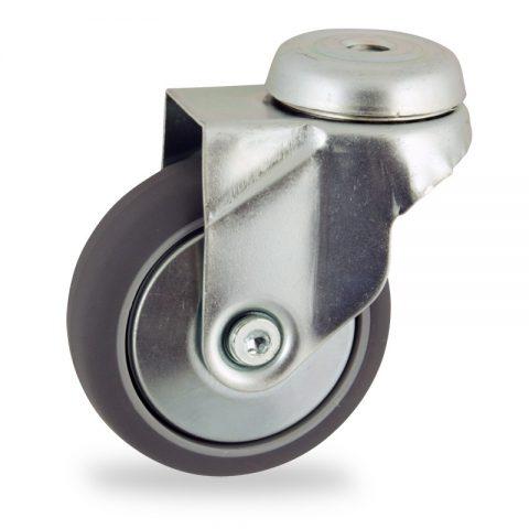 Stahlblech lenkrolle 100mm für lichtwagen,rader aus grau thermoplasticher gummi,konuskugellager.Montage mit rückenloch