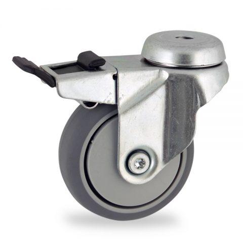 Stahlblech lenkrolle mit totalfeststeller 75mm für lichtwagen,rader aus grau thermoplasticher gummi,gleitlager.Montage mit rückenloch