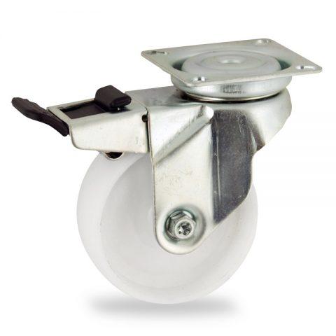 Stahlblech lenkrolle mit totalfeststeller 50mm für lichtwagen,rader aus polyamid,gleitlager.Montage mit platte