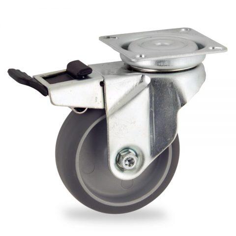 Stahlblech lenkrolle mit totalfeststeller 50mm für lichtwagen,rader aus grau thermoplasticher gummi,gleitlager.Montage mit platte
