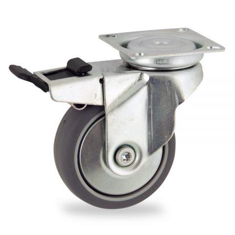 Stahlblech lenkrolle mit totalfeststeller 75mm für lichtwagen,rader aus grau thermoplasticher gummi,gleitlager.Montage mit platte