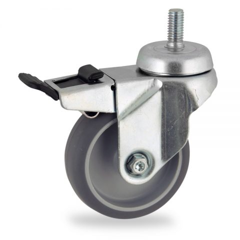 Stahlblech lenkrolle mit totalfeststeller 100mm für lichtwagen,rader aus grau thermoplasticher gummi,konuskugellager.Montage mit gewindestift