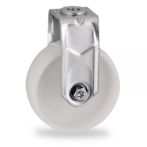 Stahlblech bockrolle 100mm für lichtwagen,rader aus polyamid,gleitlager.Montage mit rückenloch
