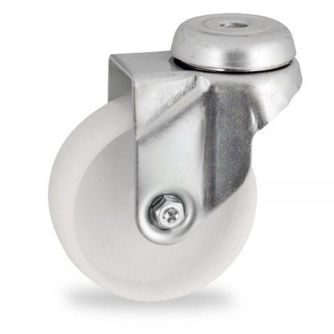 Stahlblech lenkrolle 50mm für lichtwagen,rader aus polyamid,gleitlager.Montage mit rückenloch