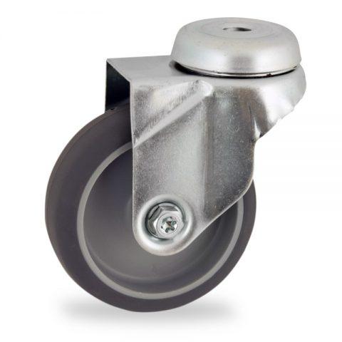 Stahlblech lenkrolle 50mm für lichtwagen,rader aus grau thermoplasticher gummi,gleitlager.Montage mit rückenloch