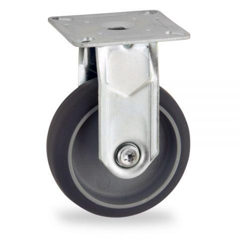 Stahlblech bockrolle 50mm für lichtwagen,rader aus grau thermoplasticher gummi,gleitlager.Montage mit platte