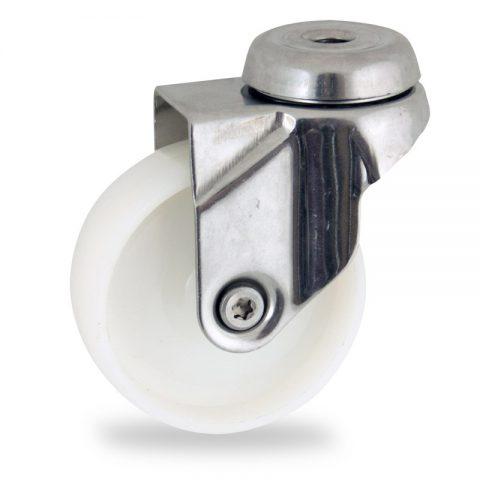 Edelstahl lenkrolle 125mm für lichtwagen,rader aus polyamid,gleitlager.Montage mit rückenloch