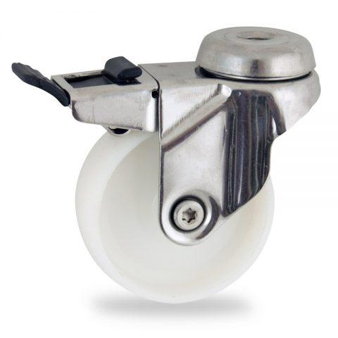 Edelstahl lenkrolle mit totalfeststeller 125mm für lichtwagen,rader aus polyamid,gleitlager.Montage mit rückenloch