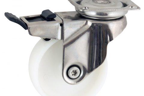 Edelstahl lenkrolle mit totalfeststeller 50mm für lichtwagen,rader aus polyamid,gleitlager.Montage mit platte