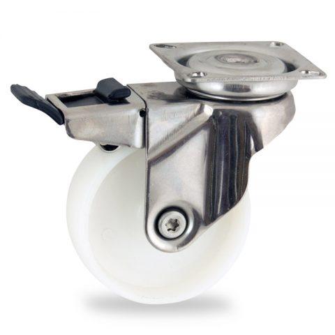 Edelstahl lenkrolle mit totalfeststeller 75mm für lichtwagen,rader aus polyamid,gleitlager.Montage mit platte