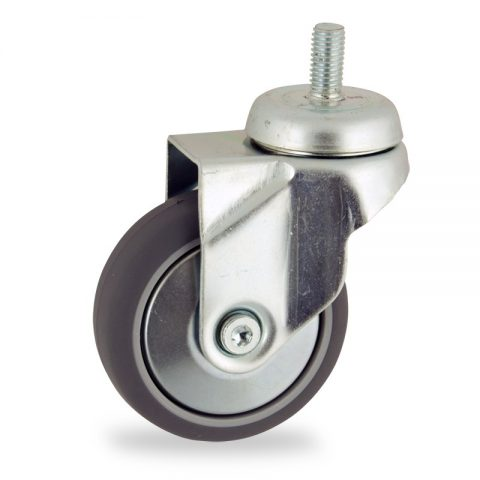 Stahlblech lenkrolle 75mm für lichtwagen,rader aus grau thermoplasticher gummi,gleitlager.Montage mit gewindestift