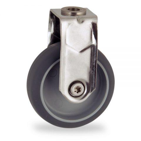 Edelstahl bockrolle 50mm für lichtwagen,rader aus grau thermoplasticher gummi,gleitlager.Montage mit rückenloch
