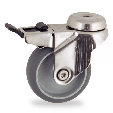 Edelstahl lenkrolle mit totalfeststeller 50mm für lichtwagen,rader aus grau thermoplasticher gummi,gleitlager.Montage mit rückenloch