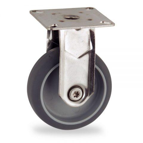 Edelstahl bockrolle 75mm für lichtwagen,rader aus grau thermoplasticher gummi,gleitlager.Montage mit platte