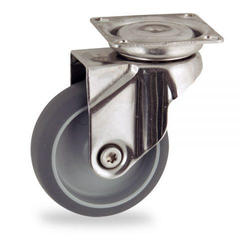 Edelstahl lenkrolle 75mm für lichtwagen,rader aus grau thermoplasticher gummi,gleitlager.Montage mit platte