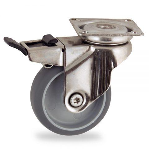 Edelstahl lenkrolle mit totalfeststeller 75mm für lichtwagen,rader aus grau thermoplasticher gummi,gleitlager.Montage mit platte