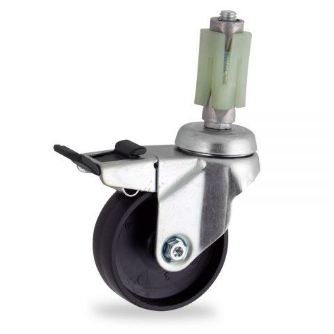 Stahlblech lenkrolle mit totalfeststeller 100mm für lichtwagen,rader aus polypropylen,gleitlager.Montage mit quadratische expander 27/31