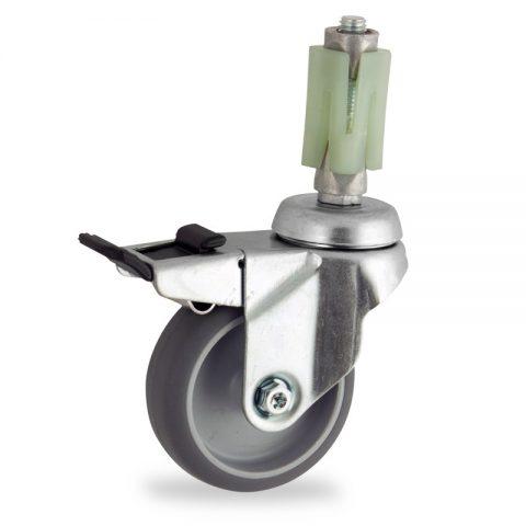 Stahlblech lenkrolle mit totalfeststeller 50mm für lichtwagen,rader aus grau thermoplasticher gummi,konuskugellager.Montage mit quadratische expander 31/35
