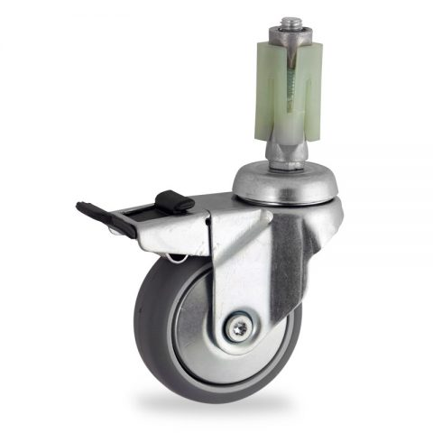 Stahlblech lenkrolle mit totalfeststeller 50mm für lichtwagen,rader aus grau thermoplasticher gummi,gleitlager.Montage mit quadratische expander 24/27