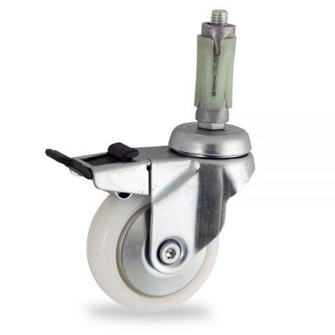 Stahlblech lenkrolle mit totalfeststeller 50mm für lichtwagen,rader aus polyamid,gleitlager.Montage mit runde expander 26/30