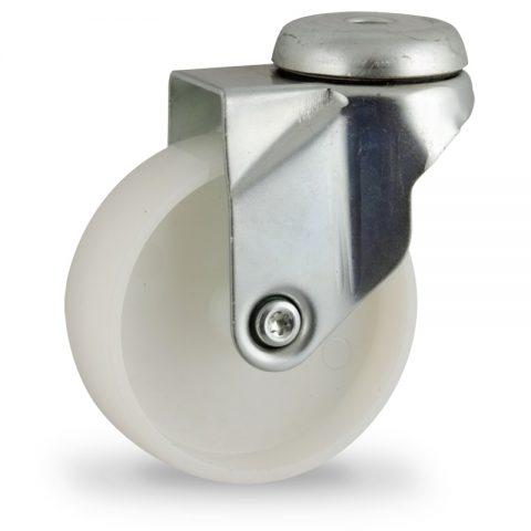 Stahlblech lenkrolle 75mm für lichtwagen,rader aus polyamid,gleitlager.Montage mit rückenloch