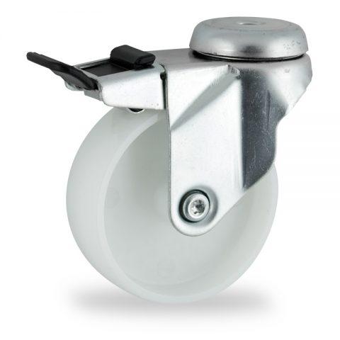 Stahlblech lenkrolle mit totalfeststeller 150mm für lichtwagen,rader aus polyamid,gleitlager.Montage mit rückenloch