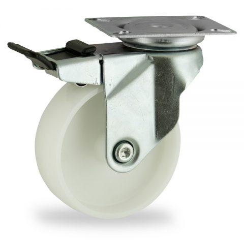 Stahlblech lenkrolle mit totalfeststeller 75mm für lichtwagen,rader aus polyamid,gleitlager.Montage mit platte