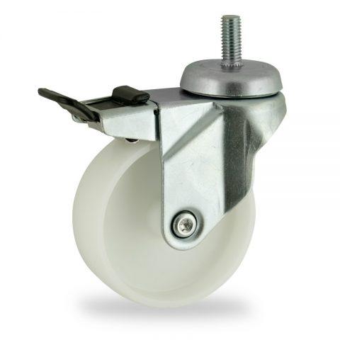 Stahlblech lenkrolle mit totalfeststeller 75mm für lichtwagen,rader aus polyamid,gleitlager.Montage mit gewindestift