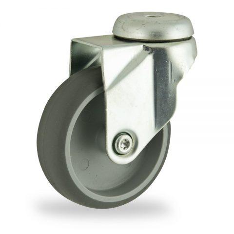 Stahlblech lenkrolle 125mm für lichtwagen,rader aus grau thermoplasticher gummi,gleitlager.Montage mit rückenloch