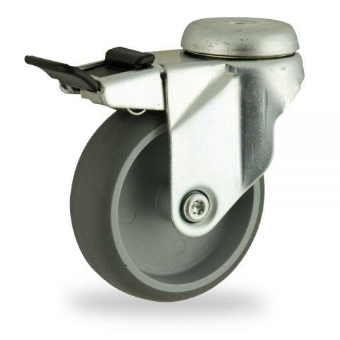 Stahlblech lenkrolle mit totalfeststeller 125mm für lichtwagen,rader aus grau thermoplasticher gummi,gleitlager.Montage mit rückenloch