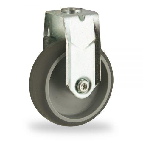 Stahlblech bockrolle 125mm für lichtwagen,rader aus grau thermoplasticher gummi,gleitlager.Montage mit rückenloch