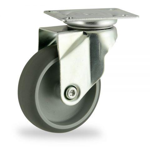 Stahlblech lenkrolle 100mm für lichtwagen,rader aus grau thermoplasticher gummi,gleitlager.Montage mit platte