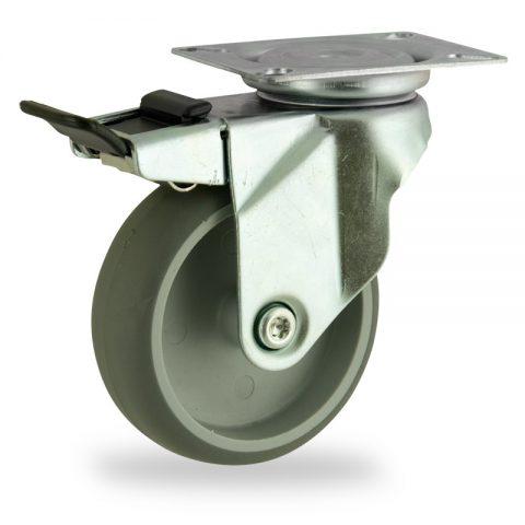 Stahlblech lenkrolle mit totalfeststeller 125mm für lichtwagen,rader aus grau thermoplasticher gummi,gleitlager.Montage mit platte