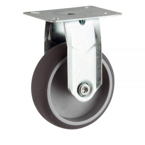Stahlblech bockrolle 150mm für lichtwagen,rader aus grau thermoplasticher gummi,gleitlager.Montage mit platte