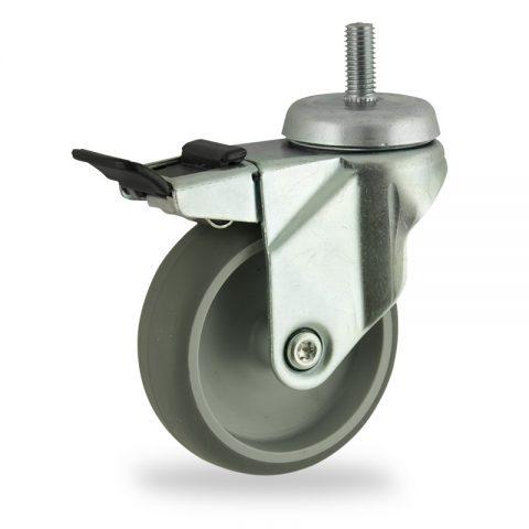 Stahlblech lenkrolle mit totalfeststeller 100mm für lichtwagen,rader aus grau thermoplasticher gummi,gleitlager.Montage mit gewindestift