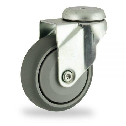 Stahlblech lenkrolle 125mm für lichtwagen,rader aus grau thermoplasticher gummi,prazisionskugellager.Montage mit rückenloch