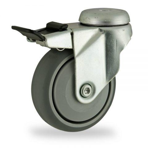 Stahlblech lenkrolle mit totalfeststeller 125mm für lichtwagen,rader aus grau thermoplasticher gummi,prazisionskugellager.Montage mit rückenloch