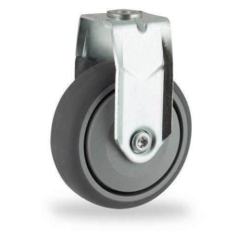 Stahlblech bockrolle 125mm für lichtwagen,rader aus grau thermoplasticher gummi,prazisionskugellager.Montage mit rückenloch