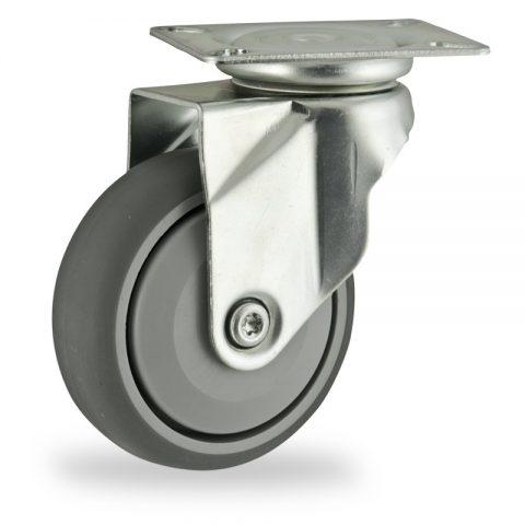 Stahlblech lenkrolle 125mm für lichtwagen,rader aus grau thermoplasticher gummi,prazisionskugellager.Montage mit platte