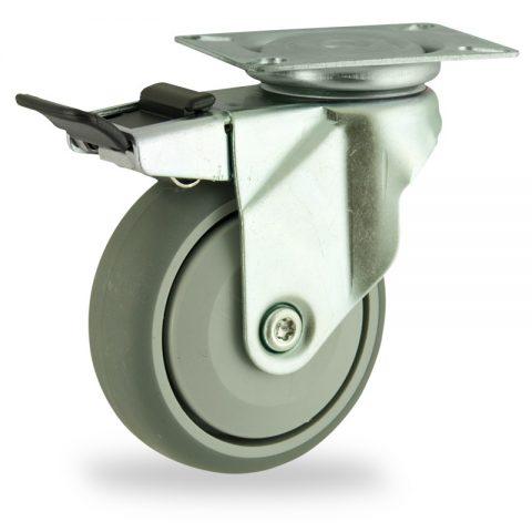 Stahlblech lenkrolle mit totalfeststeller 125mm für lichtwagen,rader aus grau thermoplasticher gummi,prazisionskugellager.Montage mit platte