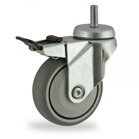Stahlblech lenkrolle mit totalfeststeller 125mm für lichtwagen,rader aus grau thermoplasticher gummi,prazisionskugellager.Montage mit gewindestift