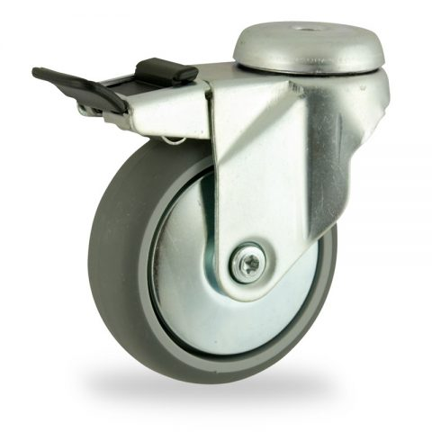 Stahlblech lenkrolle mit totalfeststeller 100mm für lichtwagen,rader aus grau thermoplasticher gummi,konuskugellager.Montage mit rückenloch