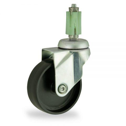 Stahlblech lenkrolle 125mm für lichtwagen,rader aus polypropylen,gleitlager.Montage mit quadratische expander 31/35