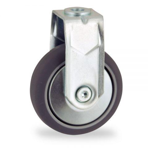 Stahlblech bockrolle 100mm für lichtwagen,rader aus grau thermoplasticher gummi,konuskugellager.Montage mit rückenloch