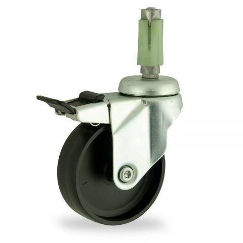 Stahlblech lenkrolle mit totalfeststeller 150mm für lichtwagen,rader aus polypropylen,gleitlager.Montage mit quadratische expander 21/24