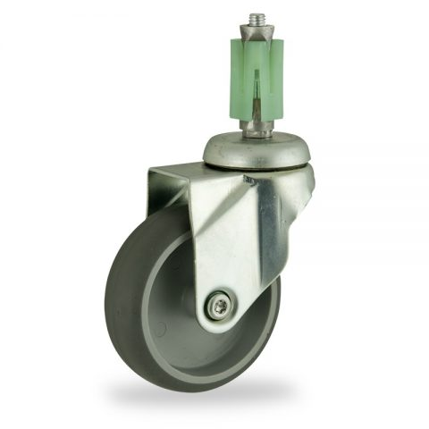 Stahlblech lenkrolle 100mm für lichtwagen,rader aus grau thermoplasticher gummi,konuskugellager.Montage mit quadratische expander 21/24
